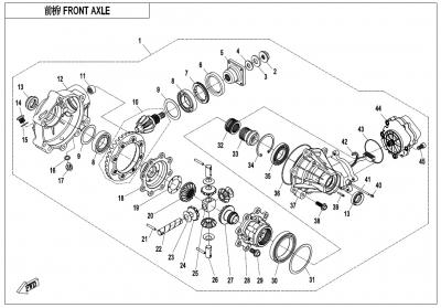 NÁHRADNÉ DIELY CF MOTO X600 - Predná náprava (diferenciál)