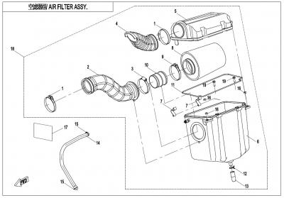 NÁHRADNÉ DIELY CF MOTO X600 - Zostava vzduchového filtra