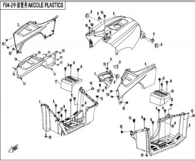 NÁHRADNÉ DIELY CF MOTO X450 - Stredné plasty (dlhá verzia)