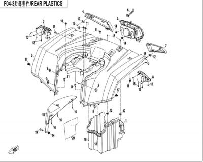 NÁHRADNÉ DIELY CF MOTO X450 - Zadné plasty