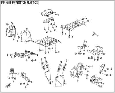NÁHRADNÉ DIELY CF MOTO X450 - Spodné plasty (krátka verzia)