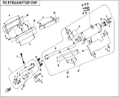 NÁHRADNÉ DIELY CF MOTO X450 - Výfuk (dlhá verzia)