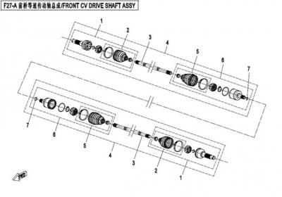 NÁHRADNÉ DIELY CF MOTO X450 - Predná poloos II