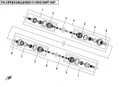 NÁHRADNÉ DIELY CF MOTO X450 - Zadná poloos I