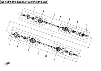 NÁHRADNÉ DIELY CF MOTO X450 - Zadná poloos II