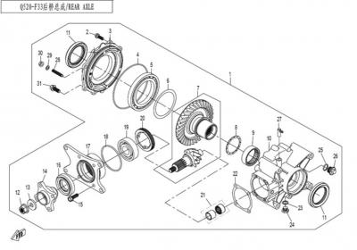 NÁHRADNÉ DIELY CF MOTO X450 - Zadná rozvodovka