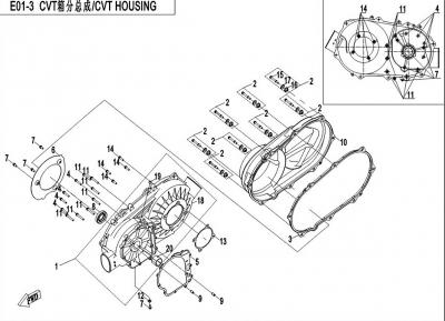 NÁHRADNÉ DIELY CF MOTO X450 - Skriňa variátora