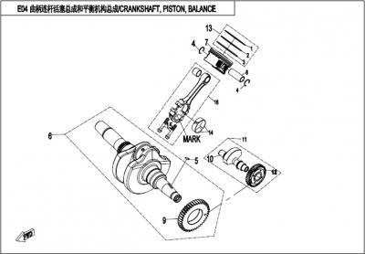 NÁHRADNÉ DIELY CF MOTO X450 - Kľuková hriadeľ / ojnica / piesty