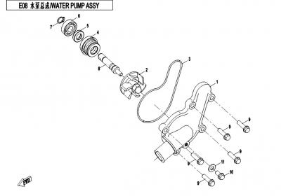 NÁHRADNÉ DIELY CF MOTO X450 - Vodná pumpa