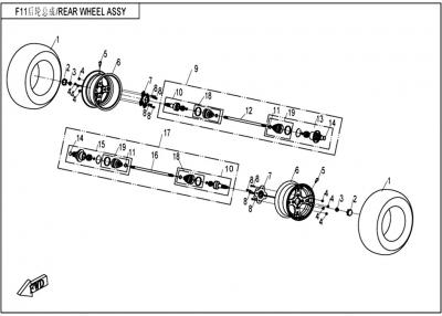 NÁHRADNÉ DIELY CF MOTO UTV 830 EFI - Zadné kolesá