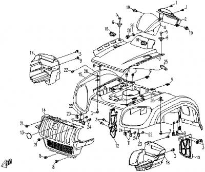 NÁHRADNÉ DIELY CF MOTO RX510 - predné plasty