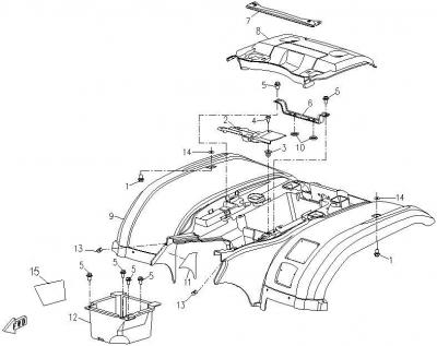 NÁHRADNÉ DIELY CF MOTO RX510 - zadné plasty