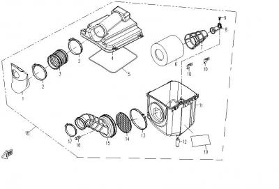 NÁHRADNÉ DIELY CF MOTO RX510 - VZDUCHOVÝ FILTER (DETAIL)