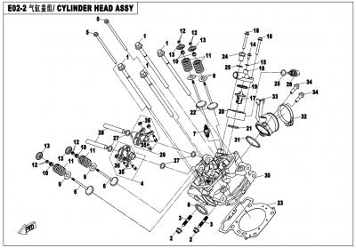 Gladiator X450 EURO4 (2018) - CYLINDER HEAD ASSY - E02-2-V2