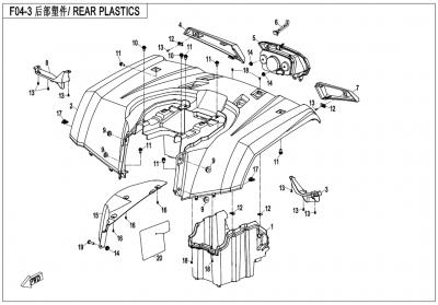 Gladiator X450 EURO4 (2018) - REAR PLASTICS - F04-3