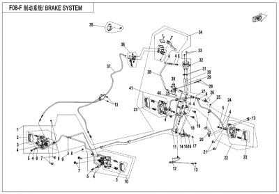 Gladiator X450 EURO4 (2018) - BRAKE SYSTEM(RH,UNITARY,SUMITOMO PLUG) - F08-F