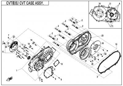 Gladiator X450 T3B (2019) - CVT CASE ASSY. - E01-3-V2