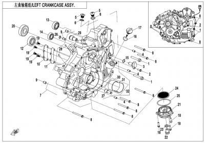 Gladiator X450 T3B (2019) - LEFT CRANKCASE ASSY - E01-1-V2