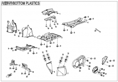 Gladiator X450 T3B (2019) - BOTTOM PLASTICS - F04-4-V2
