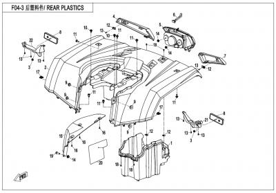 Gladiator X450 T3B (2019) - REAR PLASTICS - F04-3