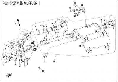 Gladiator X450 T3B (2019) - MUFFLER - F02