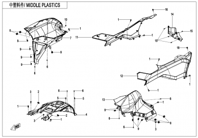 Gladiator X625-A Euro4 (2020) - MIDDLE PLASTICS - F04-4-V1