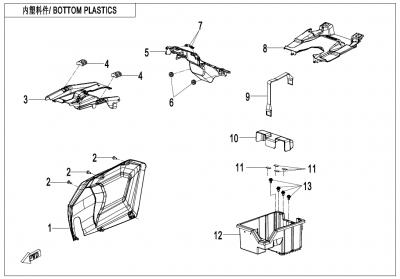 Gladiator X625 Euro4 (2020) - BOTTOM PLASTICS - F04-8