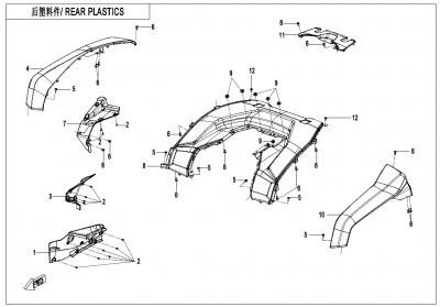 Gladiator X625 Euro4 (2020) - REAR PLASTICS - F04-5