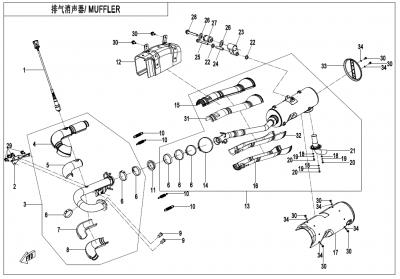 Gladiator X625 Euro4 (2020) - MUFFLER(FOR EU168 ONLY) - F02-B