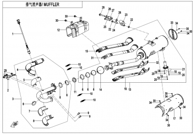 Gladiator X625-A Euro4 (2020) - MUFFLER(FOR EU168 ONLY) - F02-B