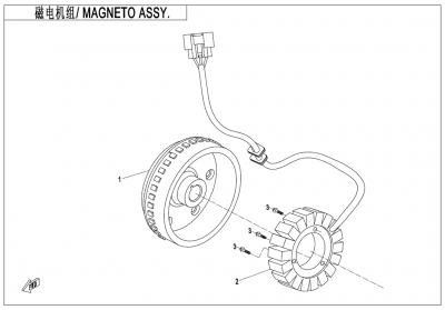 Gladiator X625-A Euro4 (2020) - MAGNETO ASSY.(600W/5000RPM) - E03-B