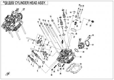 Gladiator X625-A Euro4 (2020) - CYLINDER HEAD ASSY. - E02-2