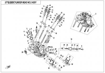 Gladiator X850 Euro4 (2017) - CYLINDER HEAD NO.2 ASSY - E02-6-V1